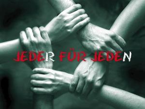 """Logo von """"Jeder für Jeden (Verschränkte Hände)"""